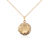 Petite Round Floral Locket in 14k Yellow Gold