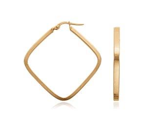 Geometric Hoop Earrings in 14k Yellow Gold