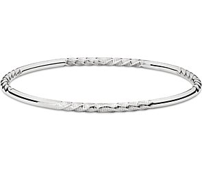 Twist Bangle Bracelet in 14k White Gold
