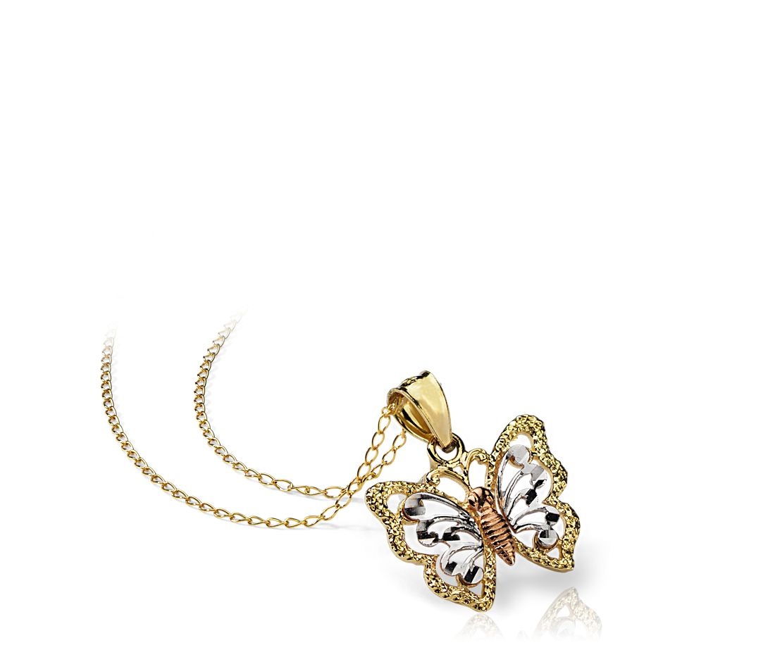 Butterfly Pendant in 14k Yellow, Rose and White Gold