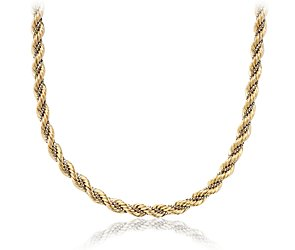 Rope Chain Necklace in 14k Yellow and White Gold