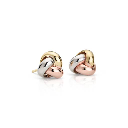 Trinity Love Knot Earrings in 14k Tri-Color Gold (9.5mm)