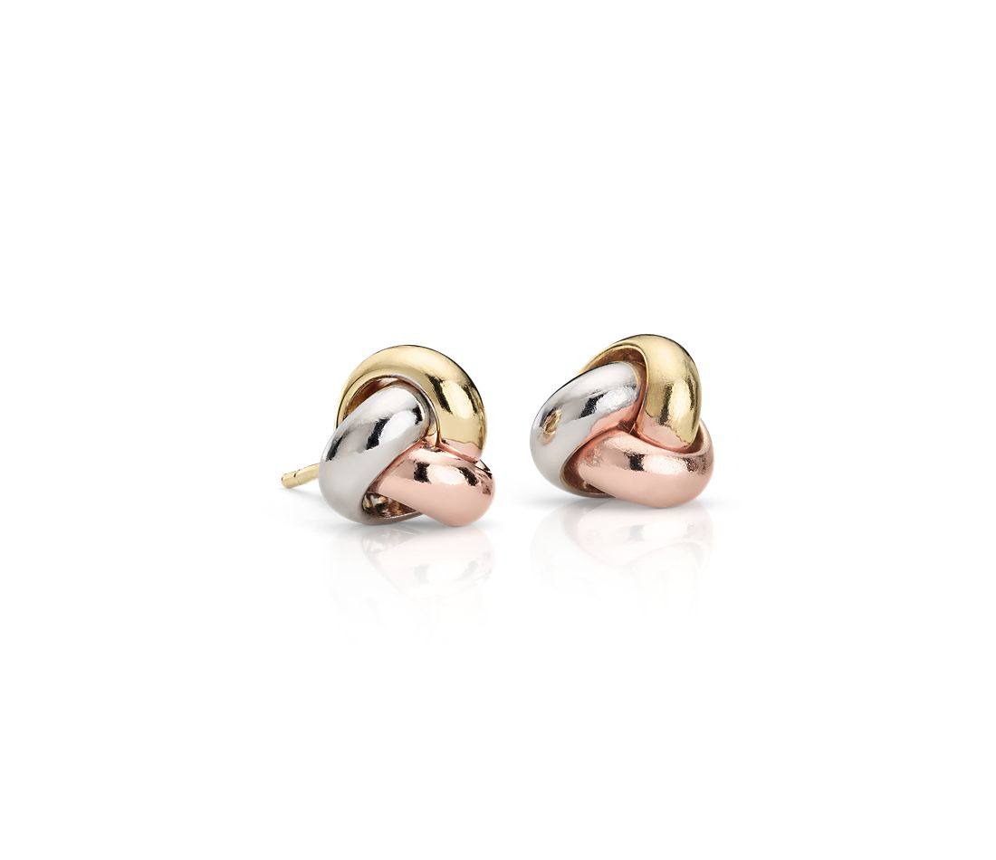 Love Knot Earrings in 14k Tri-Color Gold