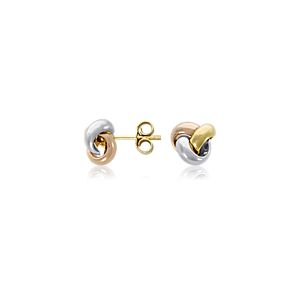 Love Knot Earrings in 14k Tri-Colour Gold