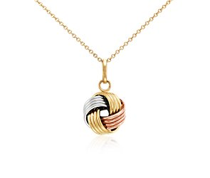 Grande Love Knot Pendant in 14k Yellow, White, and Rose Gold