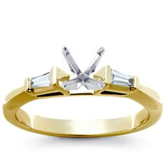 Tapered Cathedral Engagement Ring in 18k White Gold