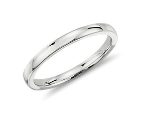 Low Dome Wedding Ring in 18k White Gold (2 mm)