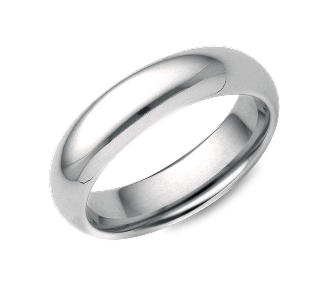 Comfort Fit Wedding Ring in 18k White Gold (5mm)