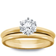 Classic Six Prong Engagement Ring and Band in 18k Yellow Gold
