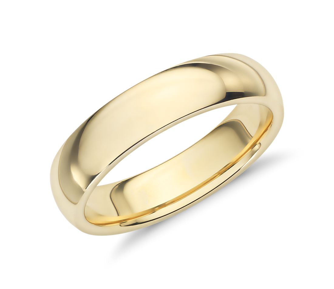 comfort fit wedding ring in 18k yellow gold 5mm blue nile With 18k wedding rings