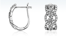 Braided Hoop Diamond Earrings in 14k White Gold (5/8 ct. tw.)