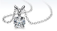 Diamond Solitaire Pendant in 18k White Gold