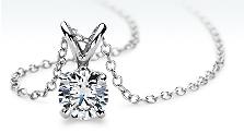Diamond Solitaire Pendant in 18k White Gold
