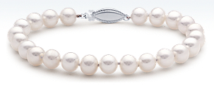 Freshwater Cultured Pearl Bracelet with 14k White Gold (7.0-7.5mm)