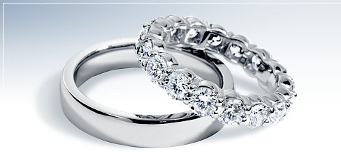 Low Dome Comfort-Fit Wedding Ring and Diamond Eternity Ring in Platinum (2 ct. tw.)