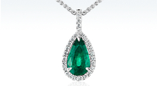 Pear-Shaped Emerald and Pavé Halo Diamond Pendant in 18k White Gold