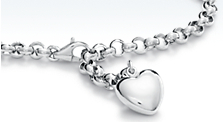 Rolo Link Bracelet with Puffed Heart in Platinum