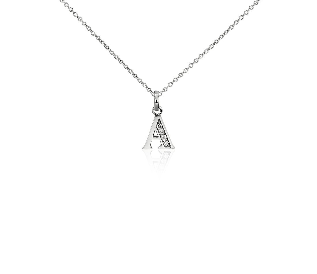 "Mini Initial ""A"" Diamond Pendant in 14k White Gold"