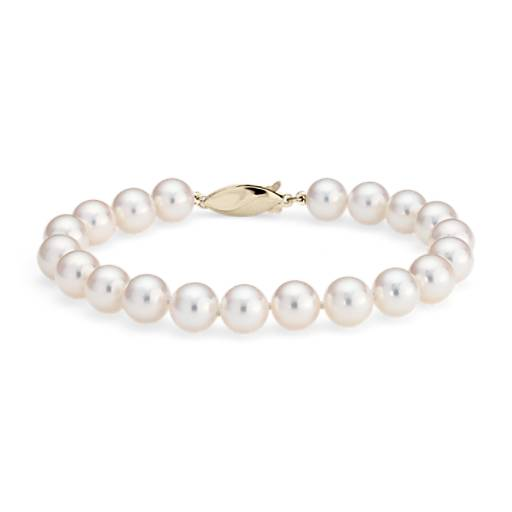 Classic Akoya Cultured Pearl Bracelet in 18k Yellow Gold (8.0-8.5mm)