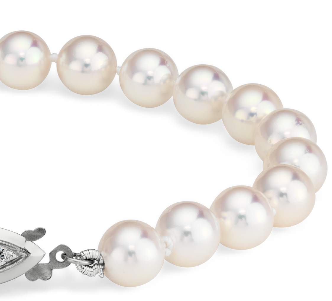 Premier Akoya Cultured Pearl and Diamond Bracelet in 18k White Gold (6.5-7.0mm)