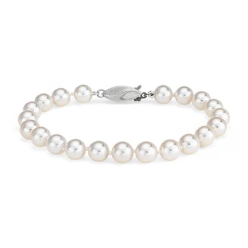 Classic Akoya Cultured Pearl Bracelet in 18k White Gold (6.5-7.0mm)