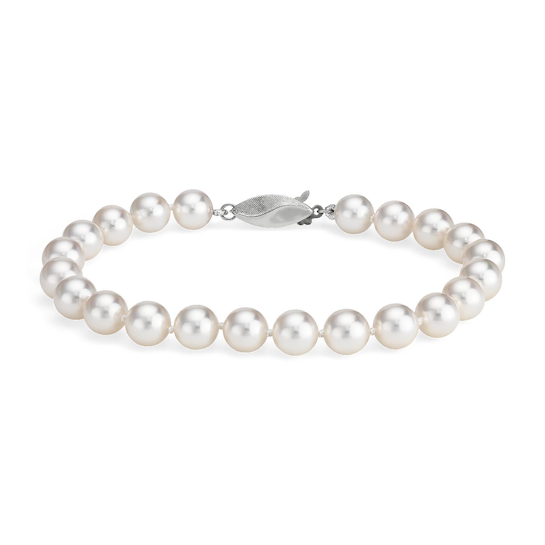 Brazalete clásico de perlas cultivadas de Akoya en oro blanco de 18k (7,0-7,5 mm)