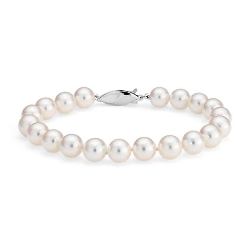 Classic Akoya Cultured Pearl Bracelet in 18k White Gold (7.5-8.0mm)