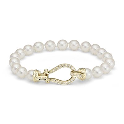 Akoya Cultured Pearl Bracelet with Diamond Horsebit Clasp in 18k Yellow Gold (6.5-7.0mm)