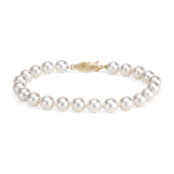 Classic Akoya Cultured Pearl Bracelet in 18k Yellow Gold (7.0-7.5mm)