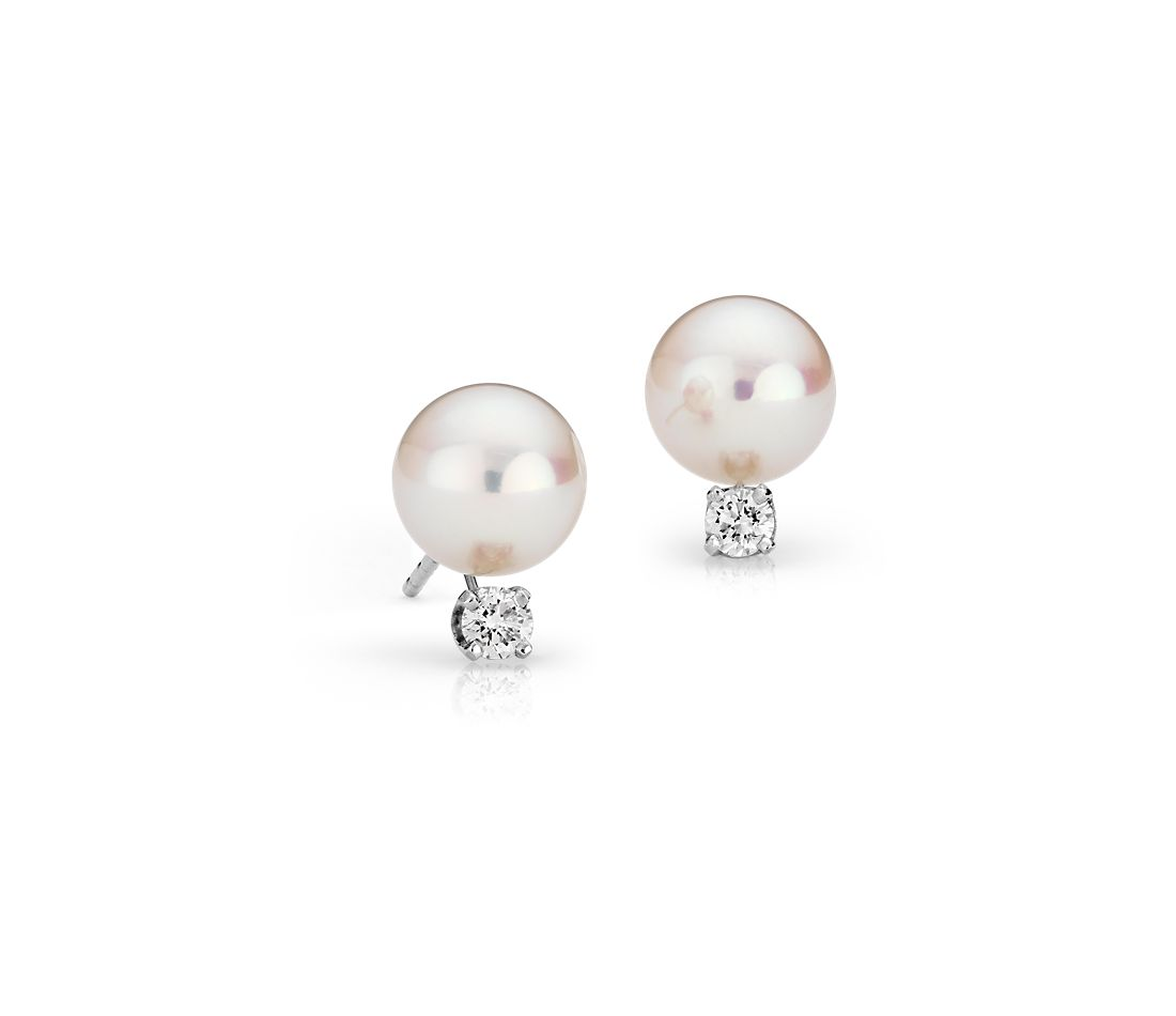 Premier Akoya Cultured Pearl and Diamond Stud Earrings in 18k White Gold (8.0-8.5mm)