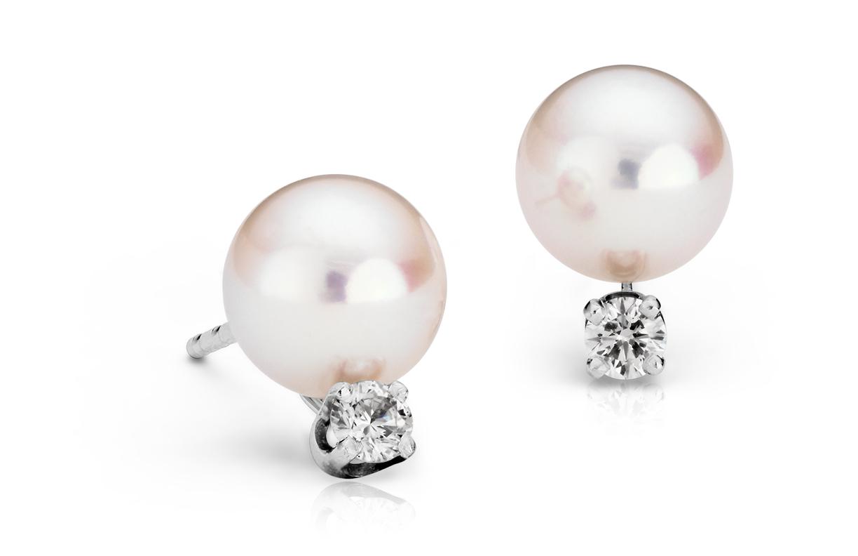 Aretes de diamantes y perlas de Akoya cultivadas Premier en oro blanco de 18k (7,0-7,5mm)