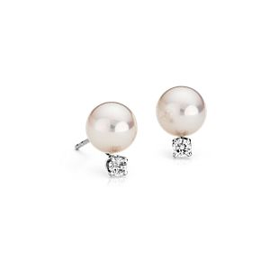 Classic Akoya Cultured Pearl and Diamond Stud Earrings in 18k White Gold (8.0-8.5mm)