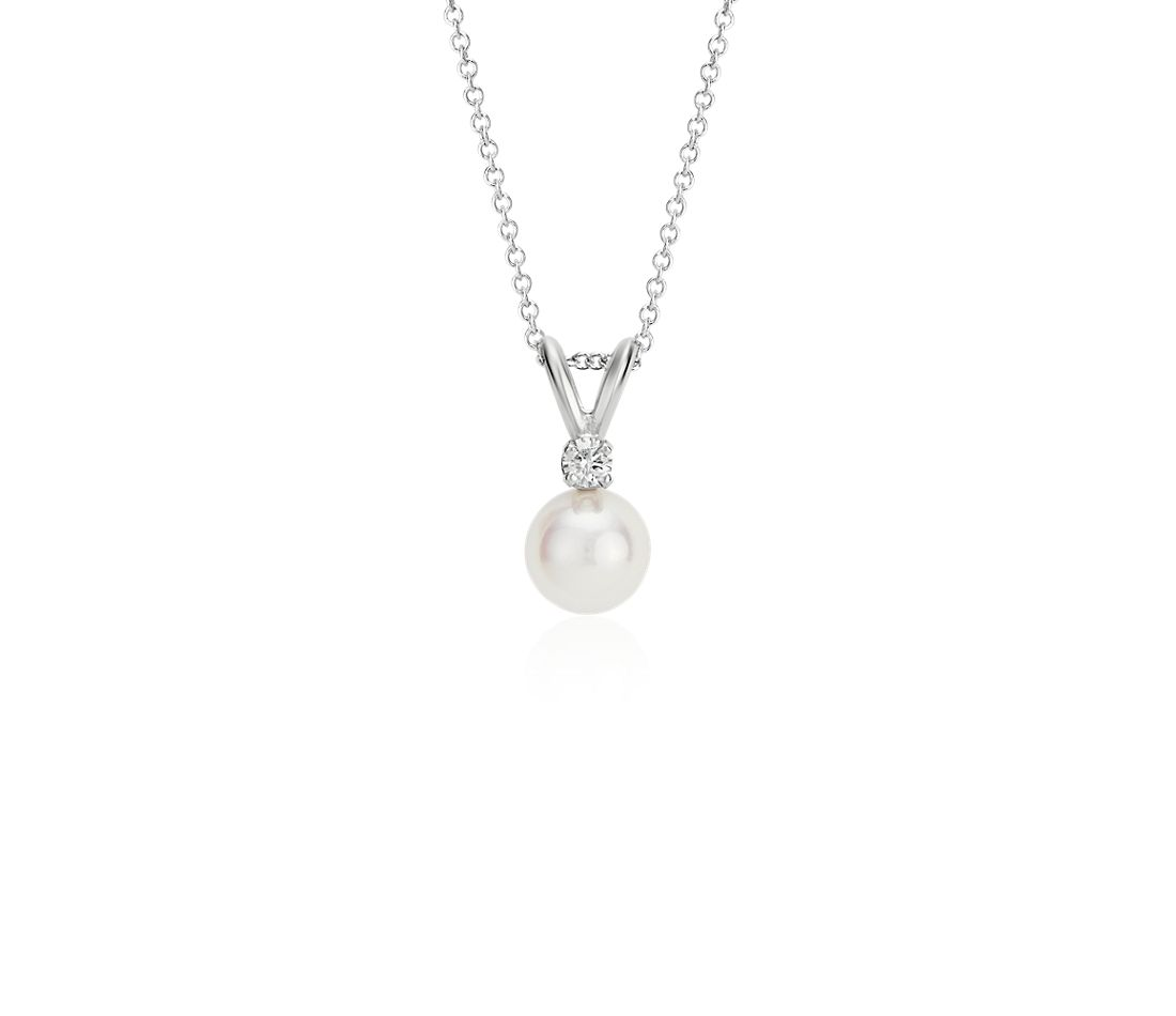 Classic Akoya Cultured Pearl and Diamond Pendant in 18k White Gold (6.0-6.5mm)