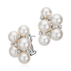 Akoya Cultured Pearl Half Cluster Diamond Earrings in 18k White Gold (0.40 ct. tw.)