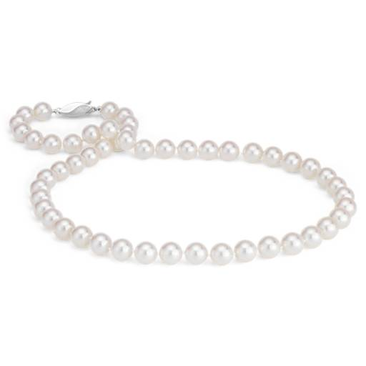 Classic Akoya Cultured Pearl Strand Necklace in 18k White Gold (8.0-8.5mm)