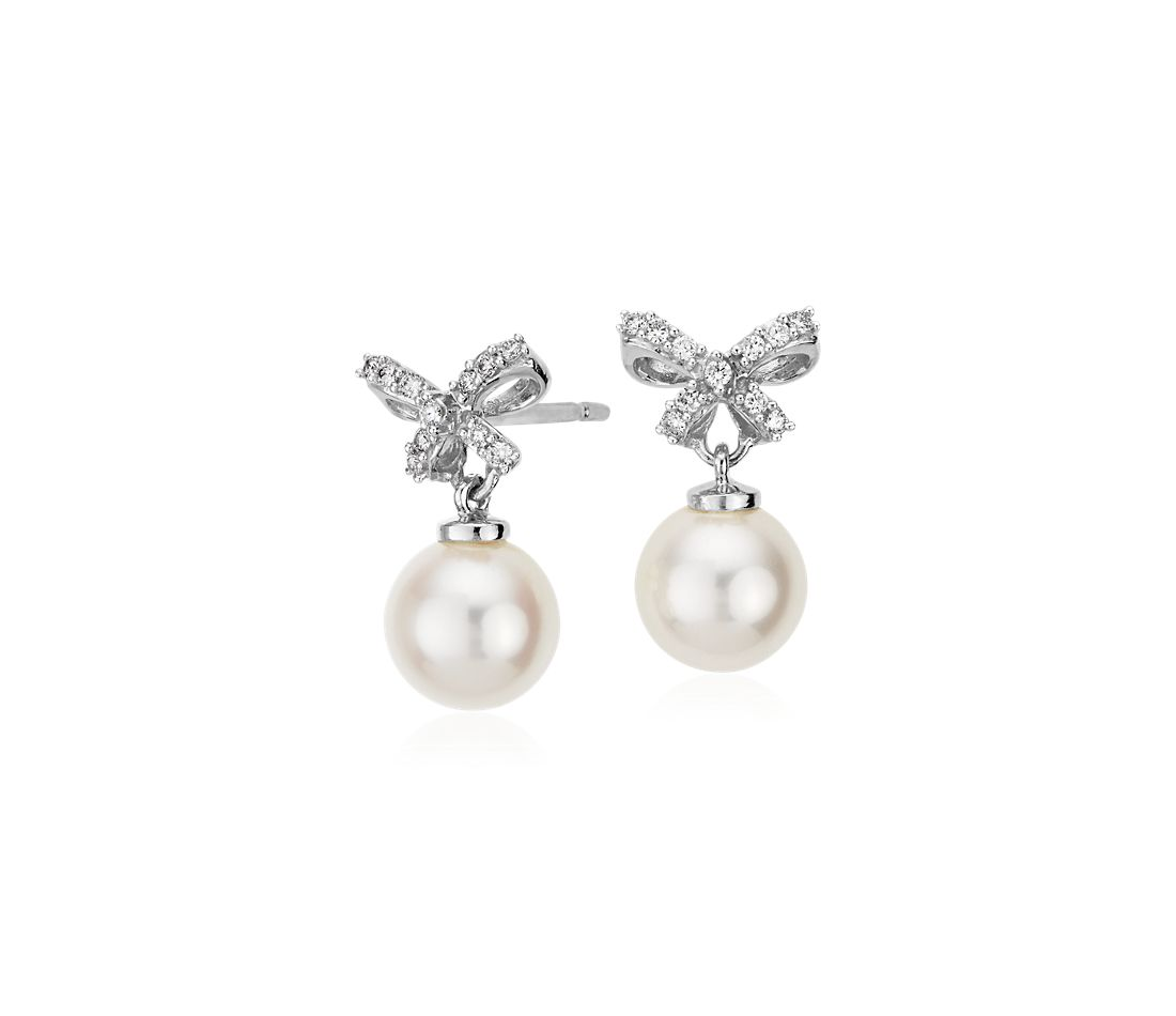 Freshwater Cultured Pearl and Diamond Bow Earrings in 18k White Gold