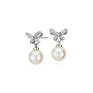 Freshwater Cultured Pearl and Diamond Bow Earrings in 18k White Gold (7mm)