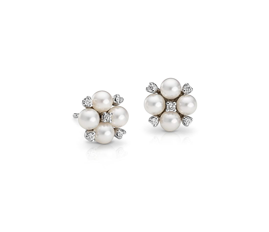 Akoya Cultured Pearl and Diamond Cluster Earrings in 18k White Gold