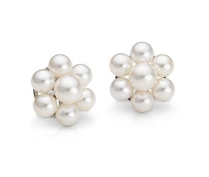 Akoya Cultured Pearl Cluster Earrings in 18k White Gold (5.5-7.5mm)