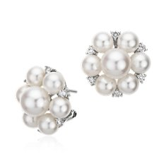 Freshwater Cultured Pearl and Diamond Cluster Earrings in 18k White Gold (1/2 ct. tw.)