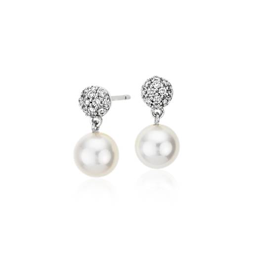 Freshwater Cultured Pearl and Diamond Drop Earrings in 18k White Gold (1/4 ct. tw.)(7.5mm)