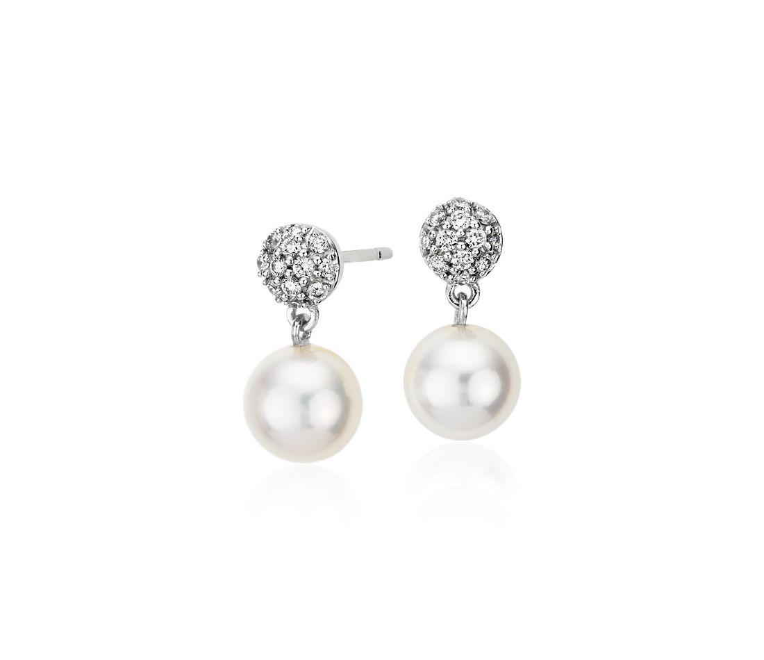 Pendants d'oreilles diamant et perle de culture d'eau douce en or blanc 18carats (1/4carat, poids total) (7,5 mm)