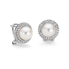 Freshwater Cultured Pearl and Double Diamond Halo Earrings in 18k White Gold (1 ct. tw.)