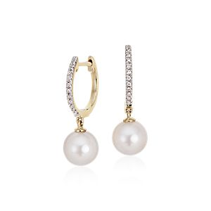 Akoya Cultured Pearl and Diamond Hoop Earrings in 14k Yellow Gold (6.5mm)