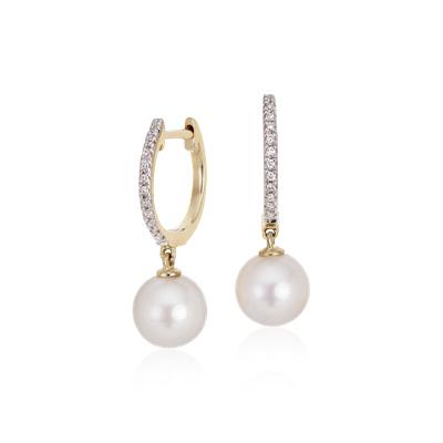 Boucles d'oreilles diamant et perle de culture d'Akoya en or jaune 14carats (6,5mm)