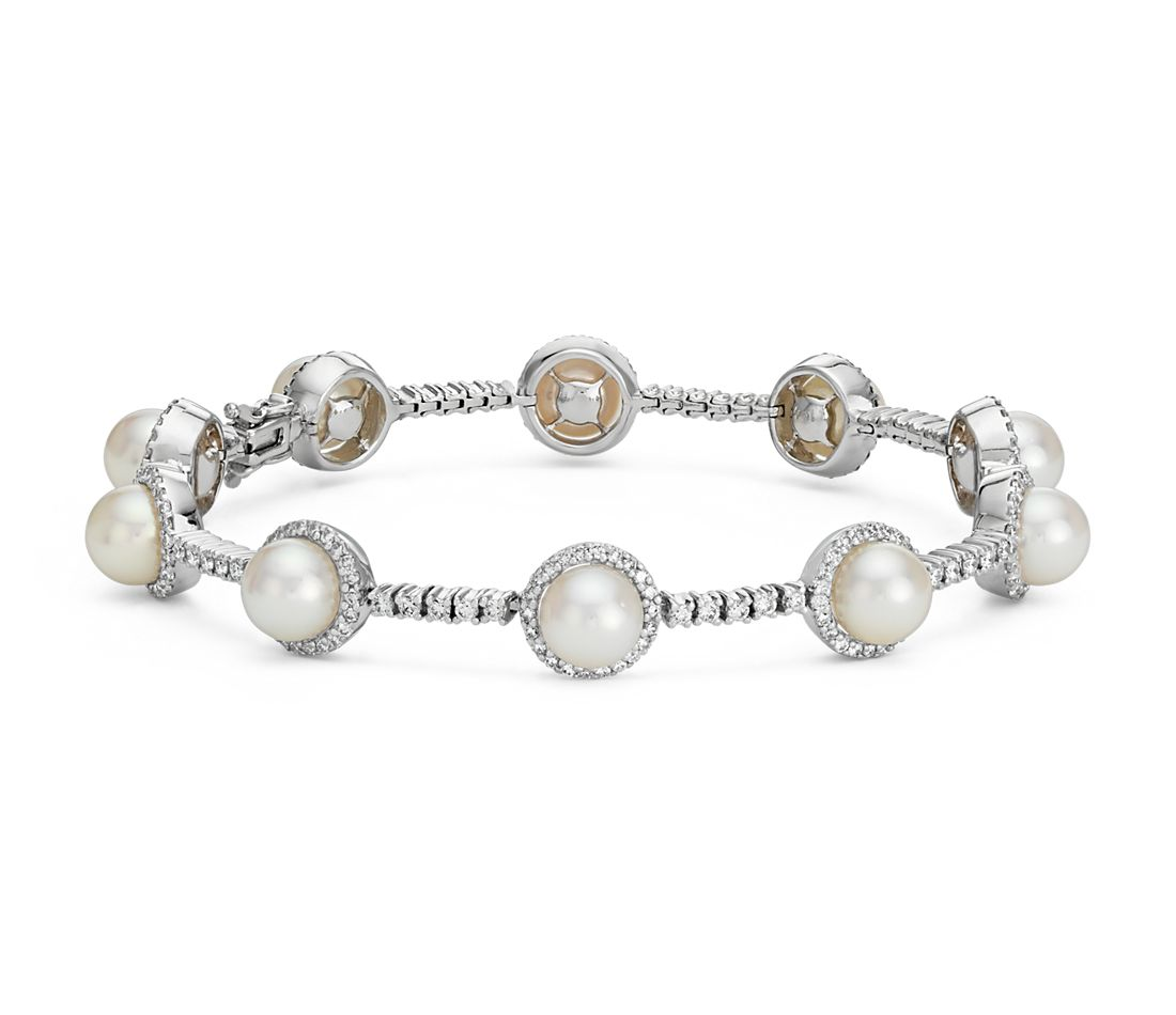 Akoya Cultured Pearl and Diamond Bracelet in 18k White Gold
