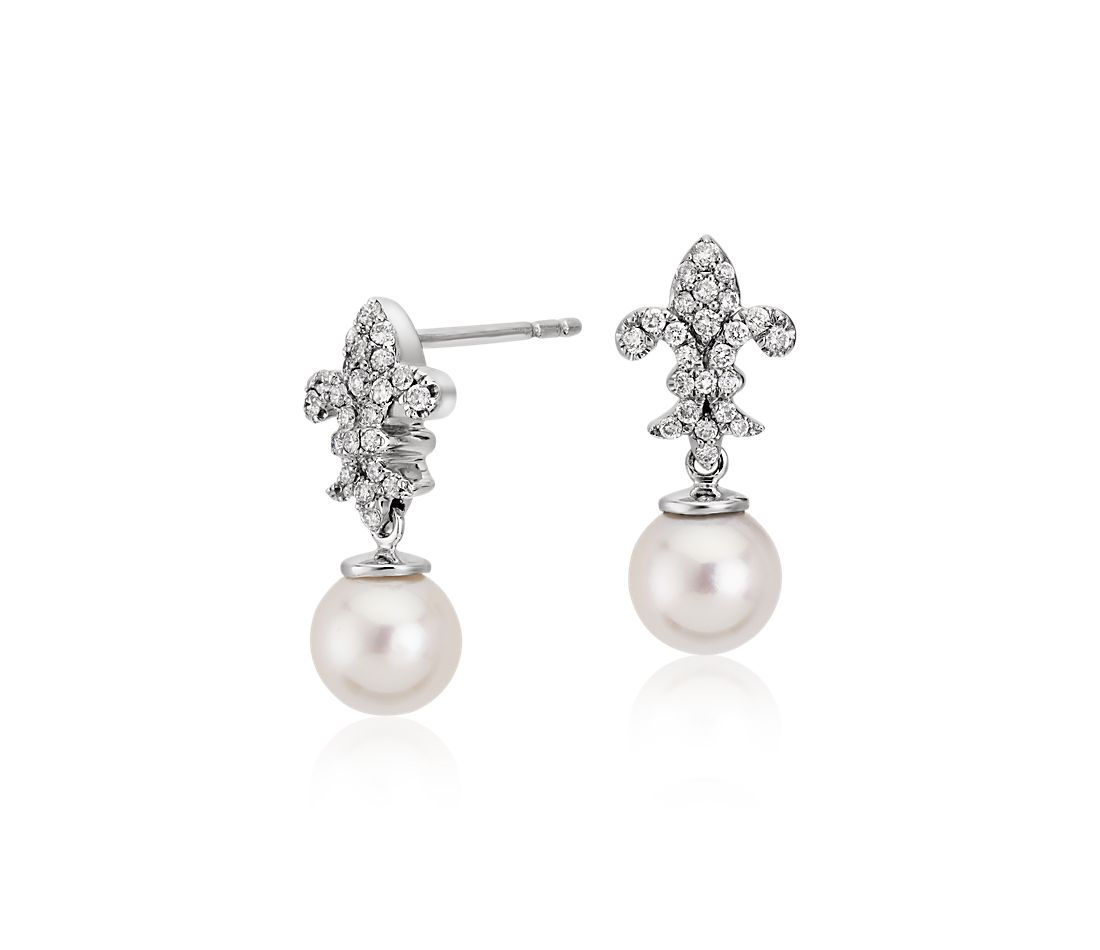 Blue Nile Studio Akoya Cultured Pearl and Diamond Fleur de Lis Drop Earrings in 18k White Gold