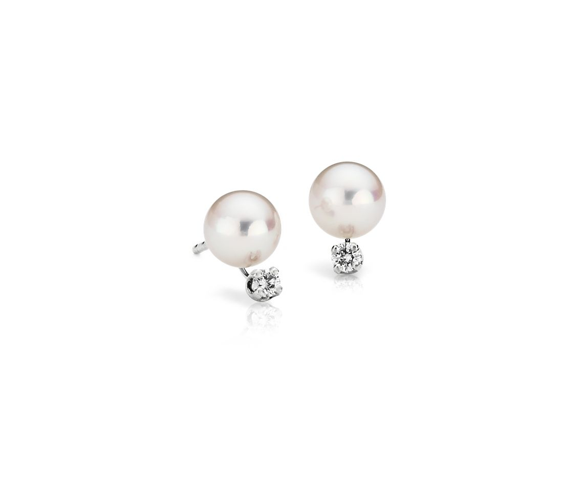 Premier Akoya Cultured Pearl and Diamond Earrings in 18k White Gold (6.0-6.5mm)