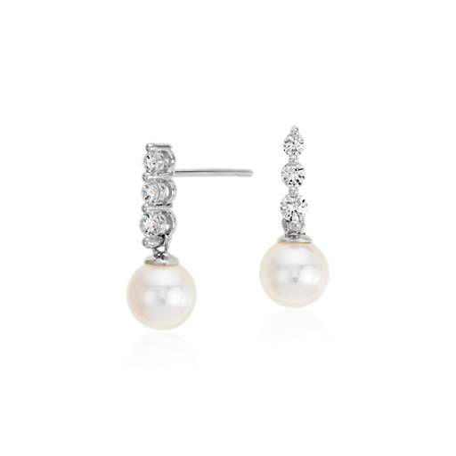 Akoya Cultured Pearl and Diamond Drop Earrings in 18k White Gold