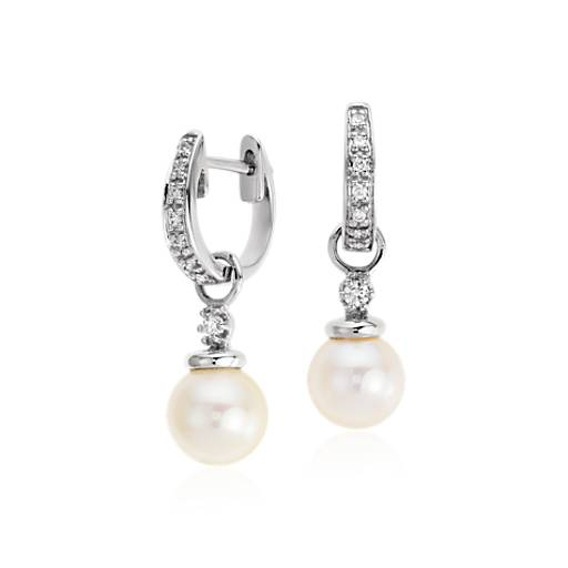 Akoya Cultured Pearl and Pavé Diamond Hoop Earrings in 18k White Gold